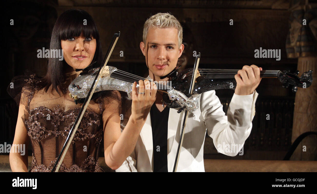 Left To Right Rock Electric Violin Duo Fuse Stock Photos