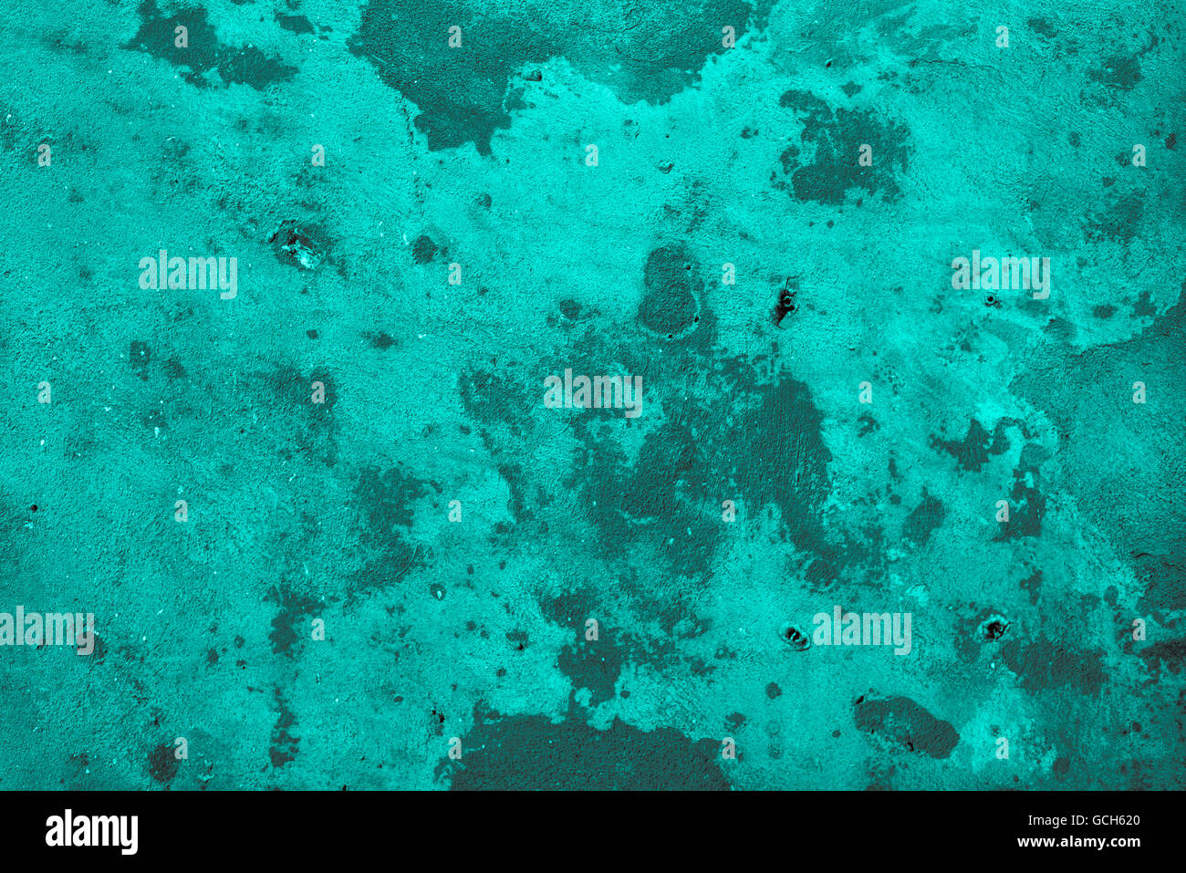 Excellent turquoise grayish gray scale stone wall backgrounds: trashy with drill holes Stock Photo