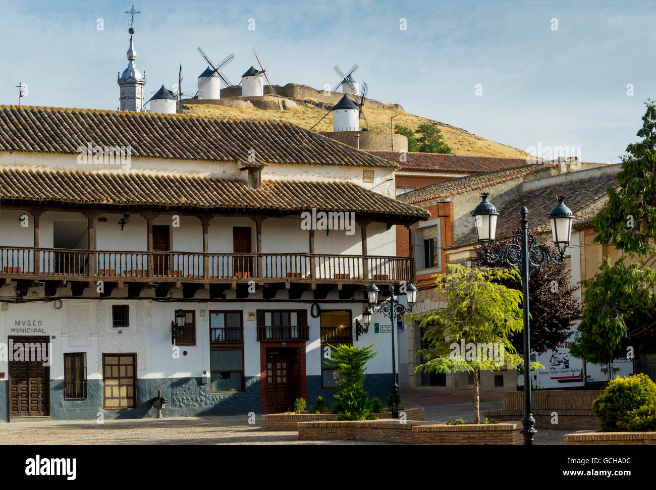 Residential Buildings With Windmills On The Hilltop Consuegra Stock