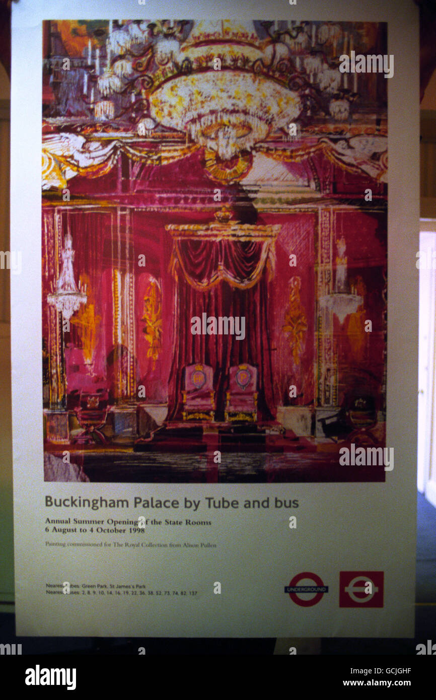 BUCKINGHAM PALACE UNDERGROUND POSTER Stock Photo