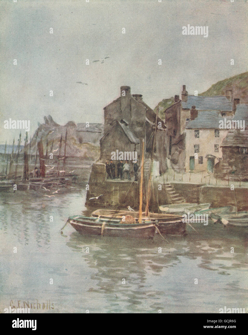 POLPERRO. View of the harbour. Fishing boats. By G. F. Nicholls, print 1915 - Stock Image