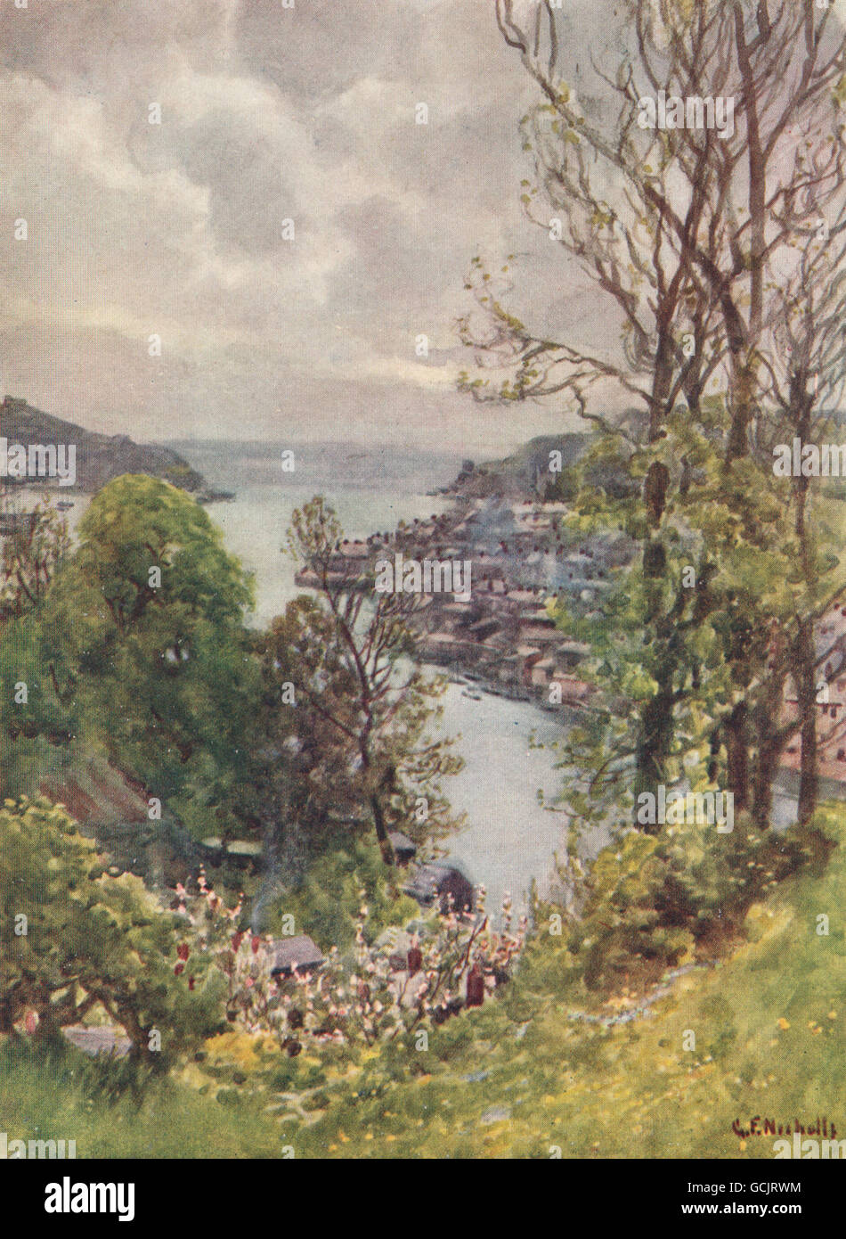 FOWEY. view of the town from Boddinock. Cornwall. By G. F. Nicholls, 1915 - Stock Image