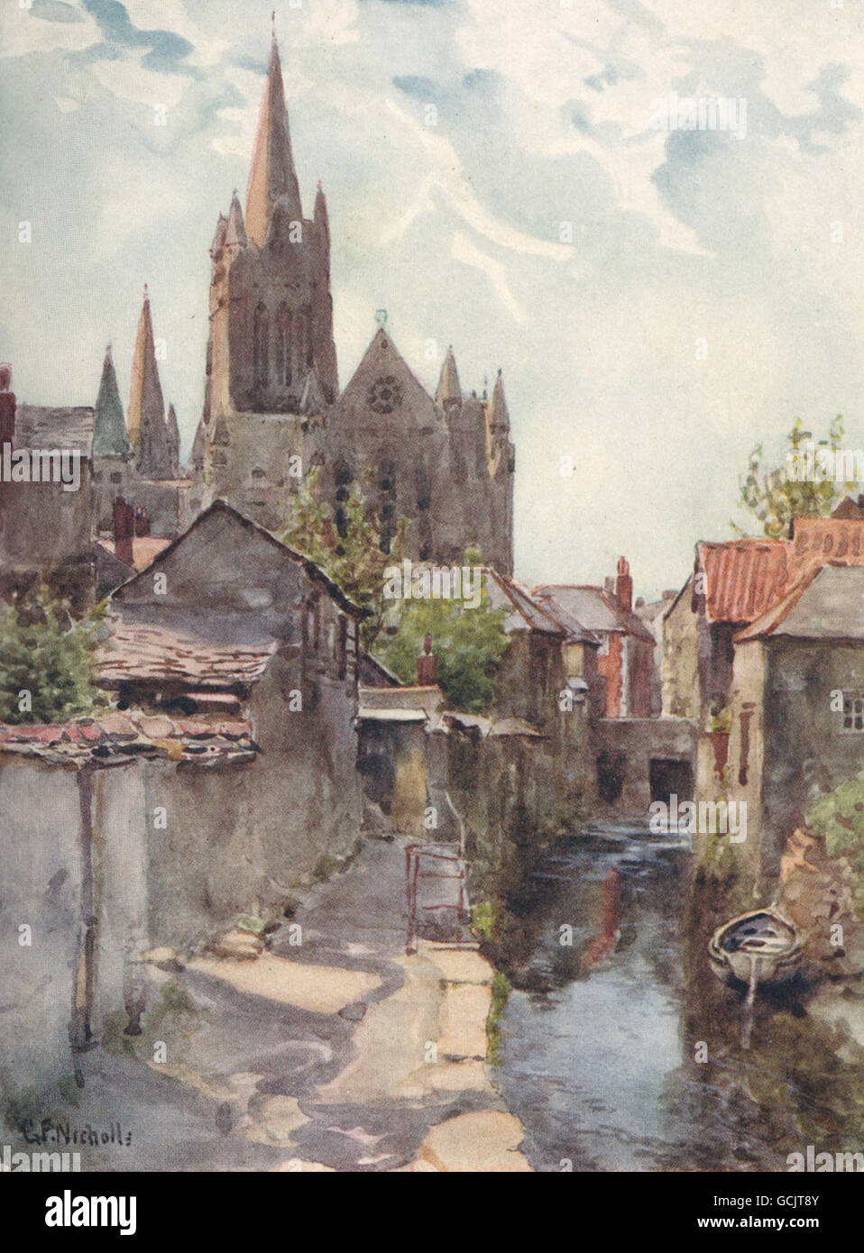 TRURO. View of the Cathedral from the river. Cornwall. By G. F. Nicholls, 1915 - Stock Image