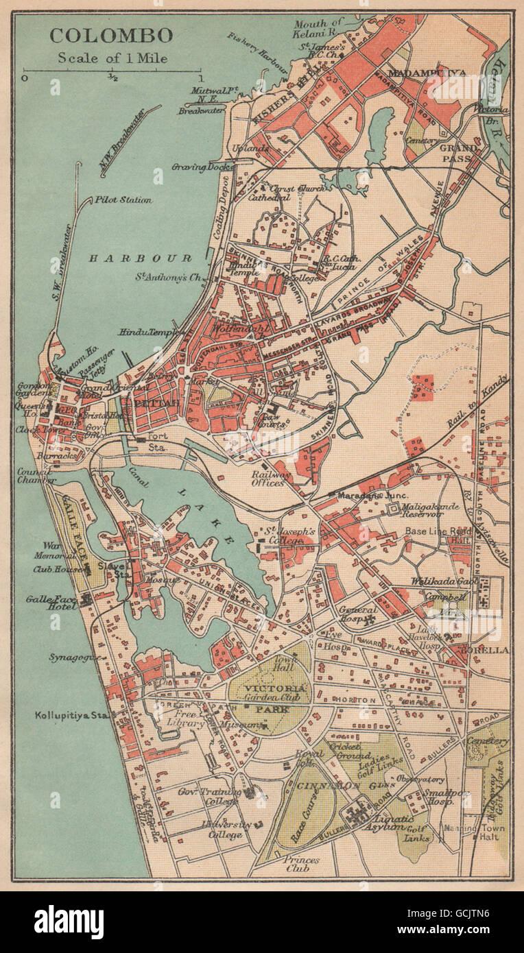 CEYLON Colombo city plan Sri Lanka Pettah British India 1929