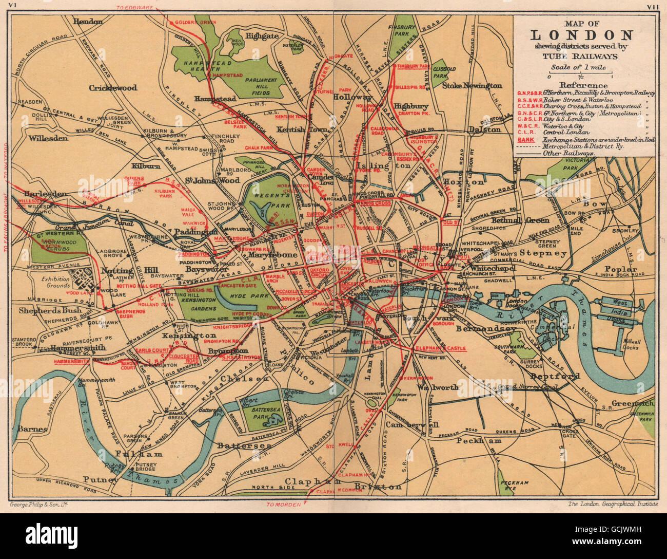 LONDON UNDERGROUND Vintage tube u0026 railway map