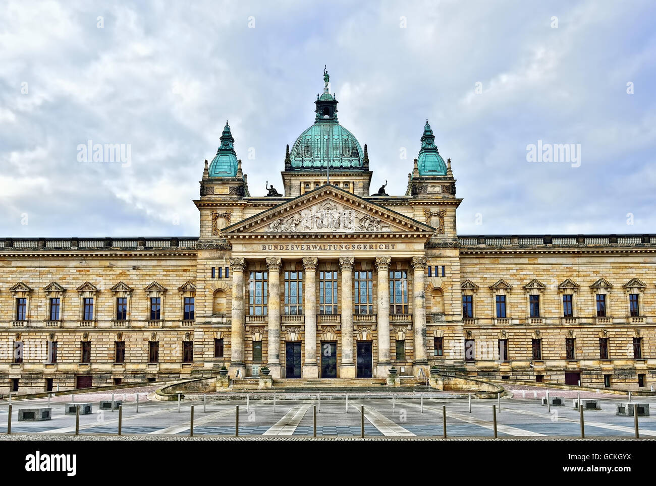 Building of Federal Administrative Court in Leipzig, Germany, in cloudy day - Stock Image
