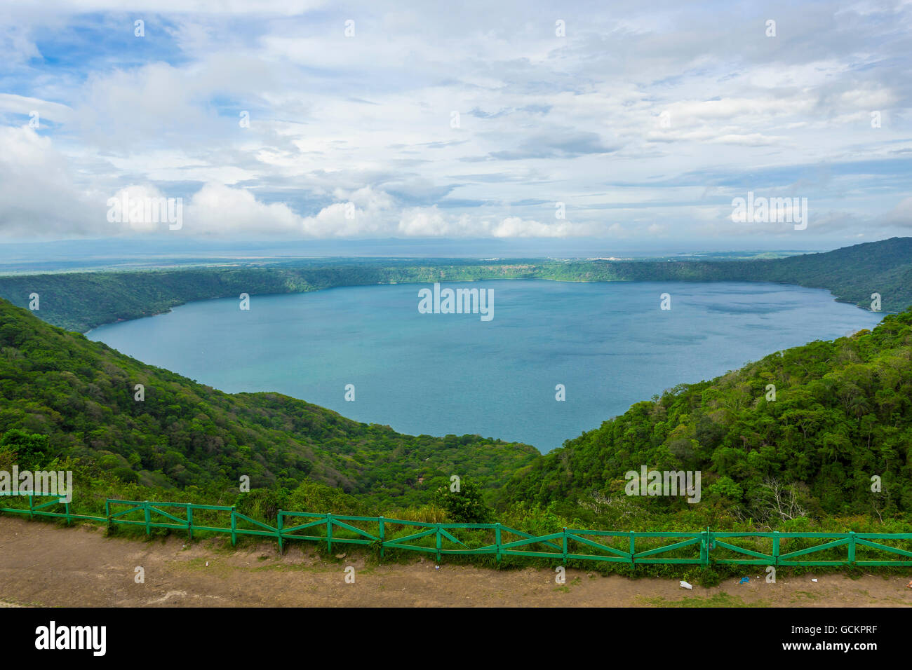 View of Apoyo Lagoon from Mirador de Catarina - Stock Image