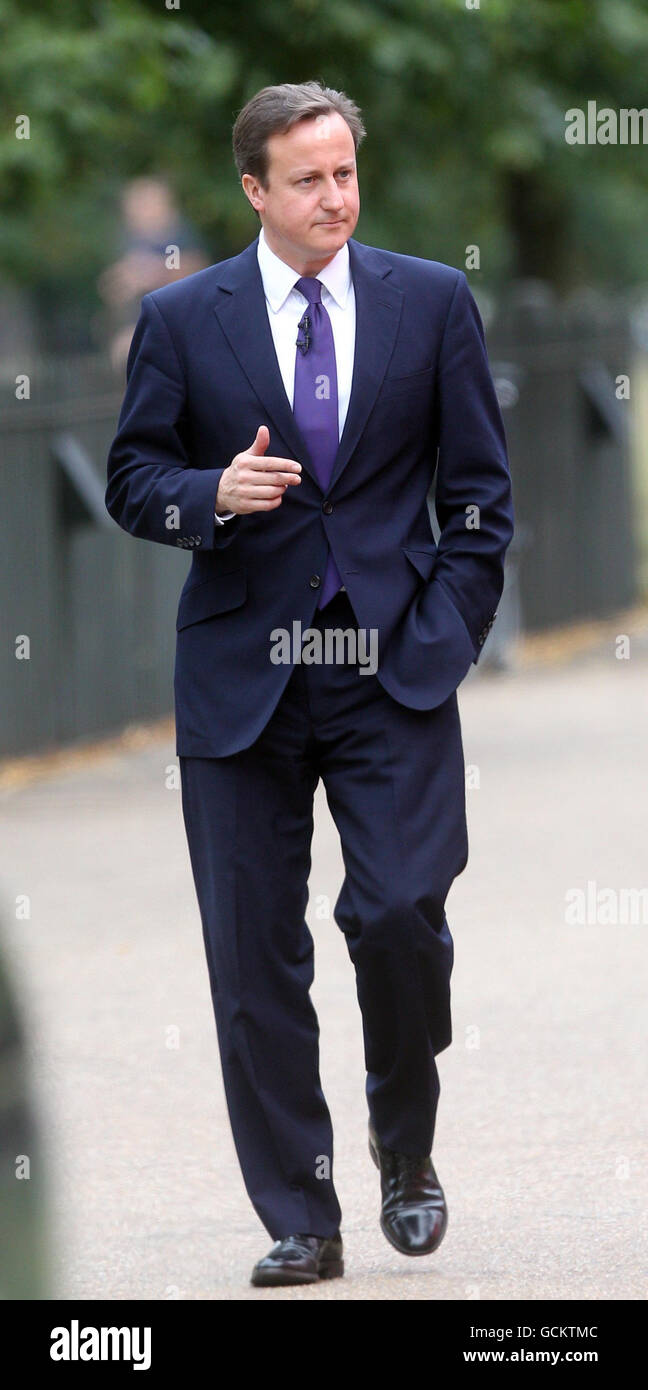 Prime Minister David Cameron arrives at the Serpentine Gallery in London to speak on tourism. Stock Photo