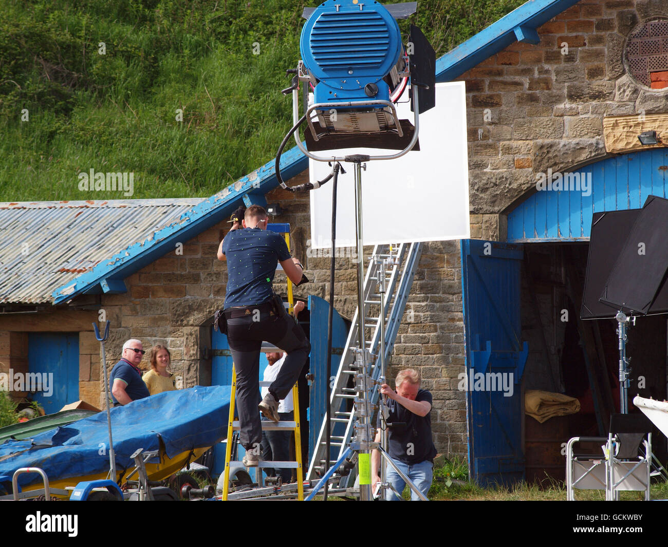 A film crew on location in Tyneside, filming a scene for 'Vara' the British detective television series - Stock Image