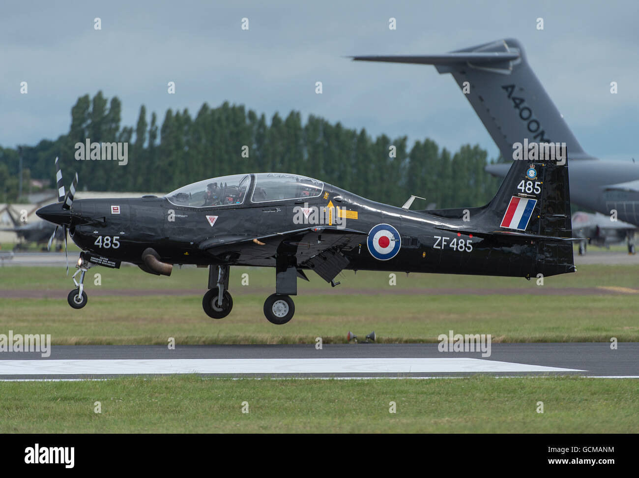 RAF Tucano Trainer arrives at The 2016 Royal International Air Tattoo, RAF Fairford, Gloucestershire. - Stock Image
