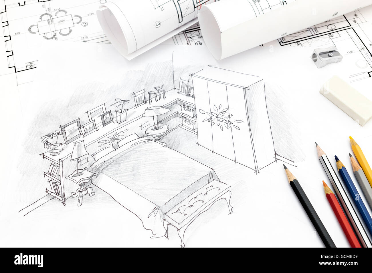 Freehand pencil drawing bedroom interior stock photos freehand