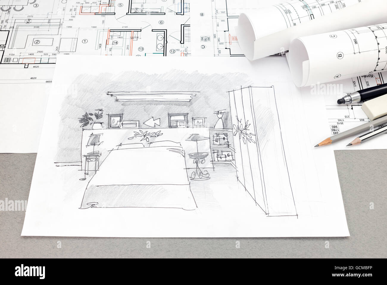 Top view of architectural hand drawn sketch blueprint plans and top view of architectural hand drawn sketch blueprint plans and pencils malvernweather Image collections