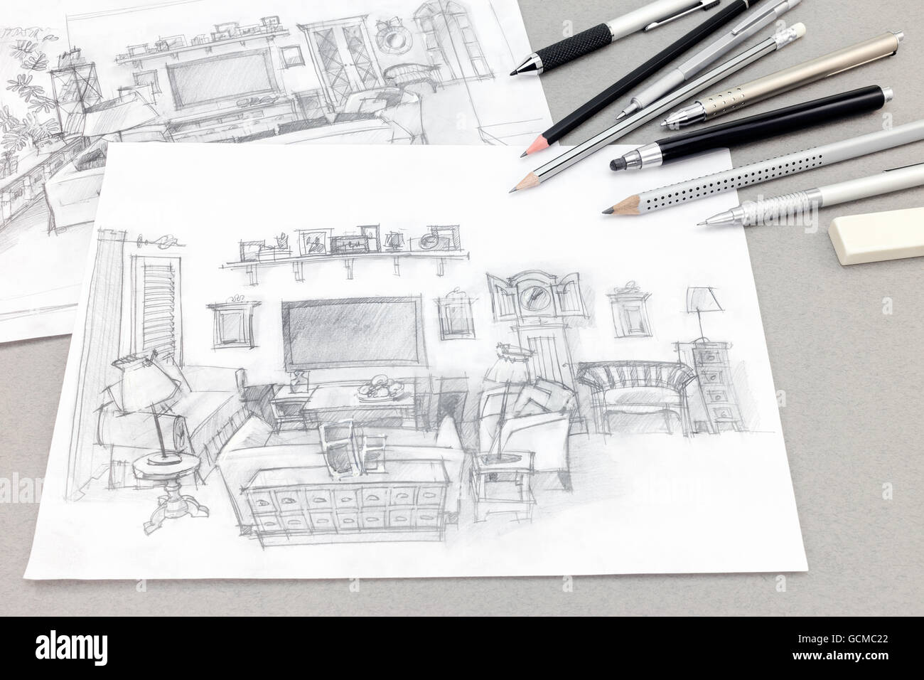 Hand Drawn Sketches Of Home Interior With Drawing Tools On