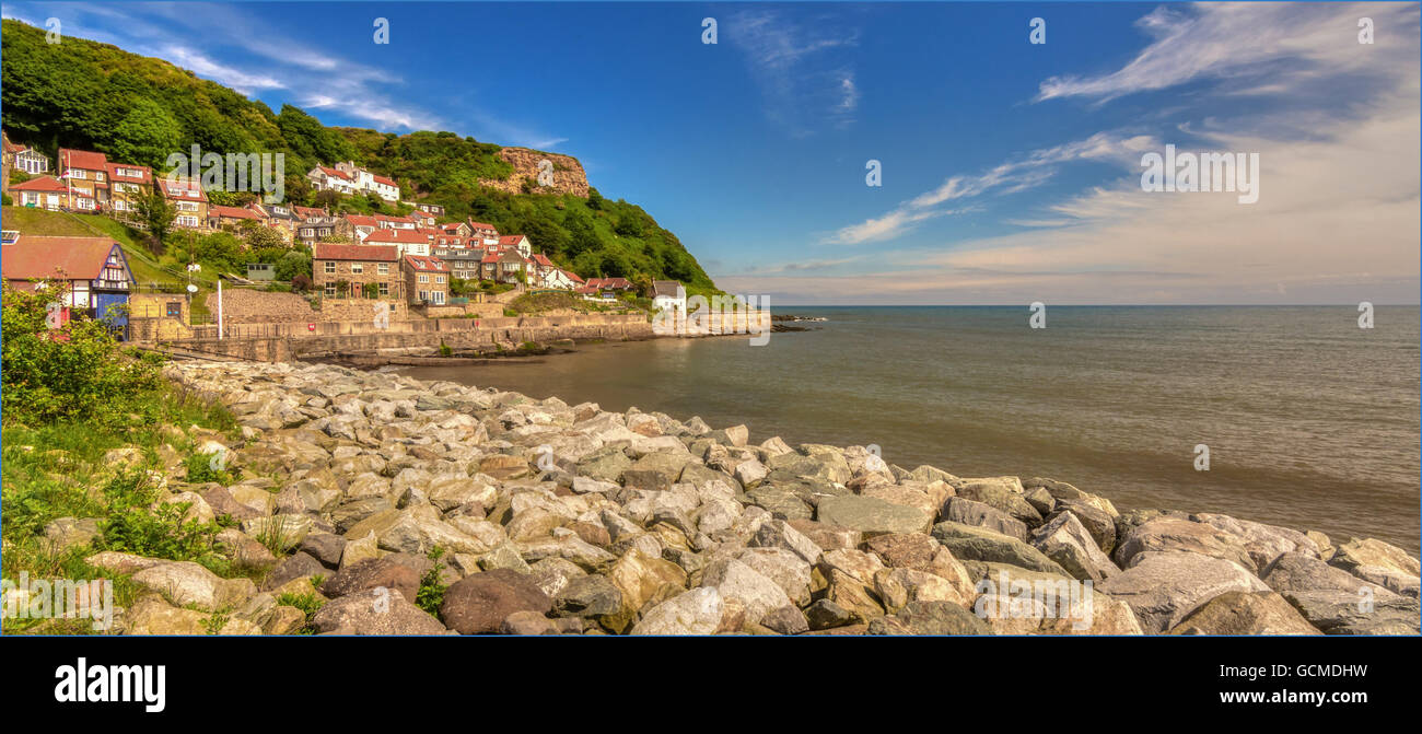 Runswick Bay is an unspoilt quintessential fishing village on the beautiful Heritage Coast area of the North York - Stock Image