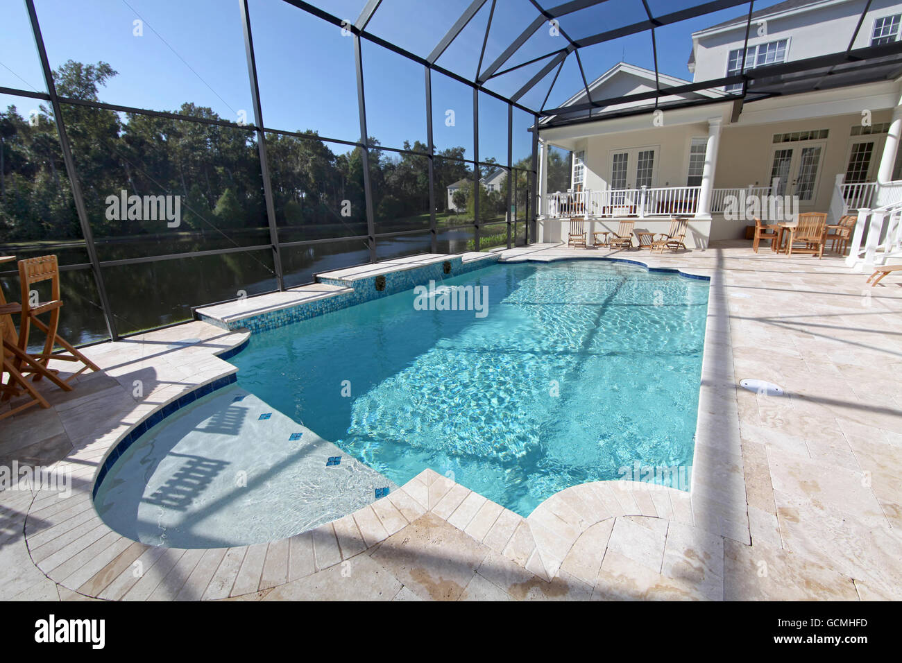 A Swimming Pool Area At A Large Home Stock Photo 111090881 Alamy