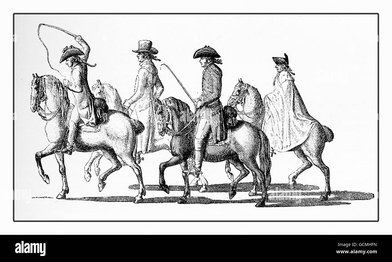 Year 1789  lifestyle and fashion, gentlemen riding in tricorn and rendingote - Stock Image