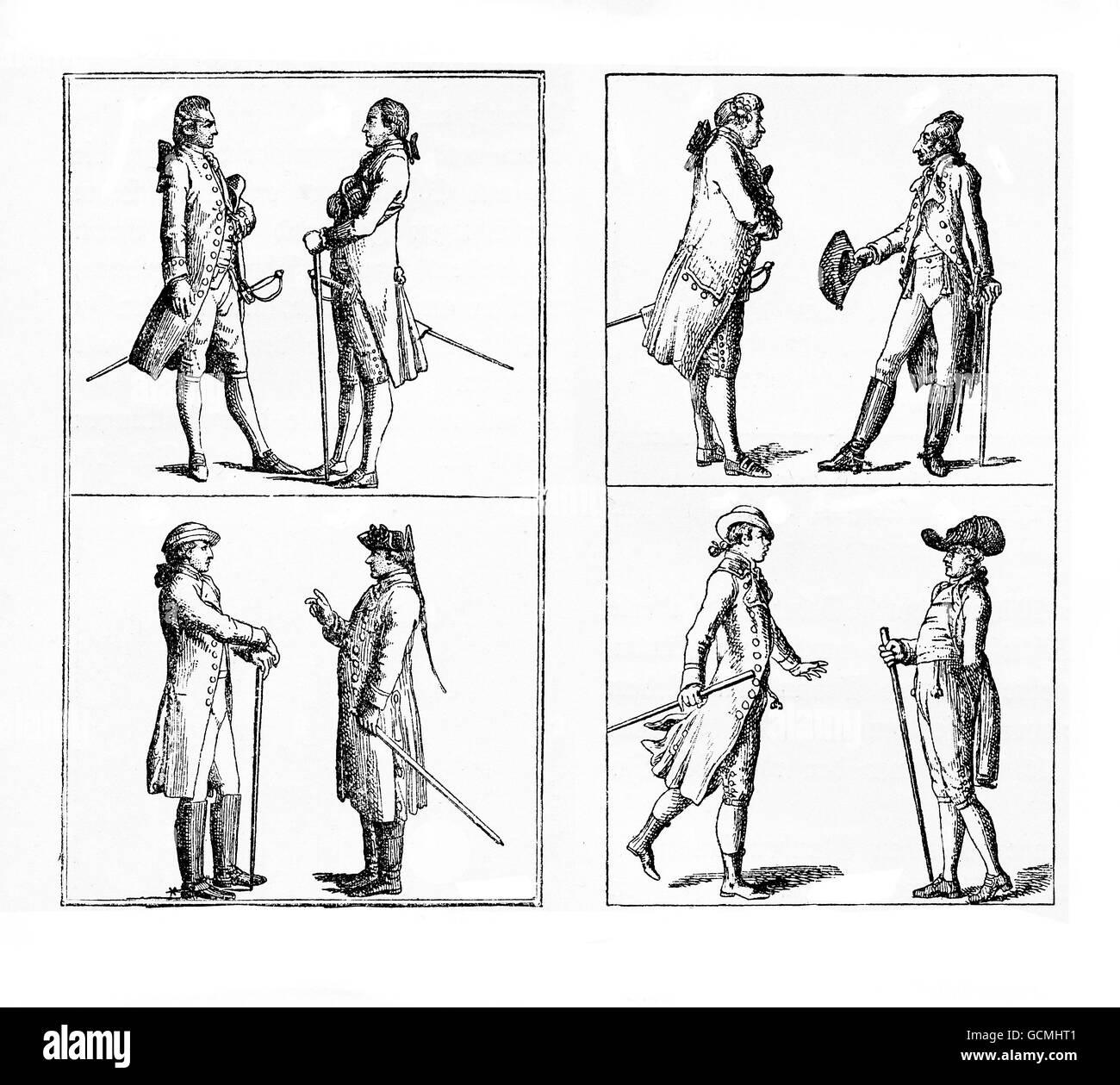 Berlin gentlemen fashion and elegance,  late XVIII century - Stock Image