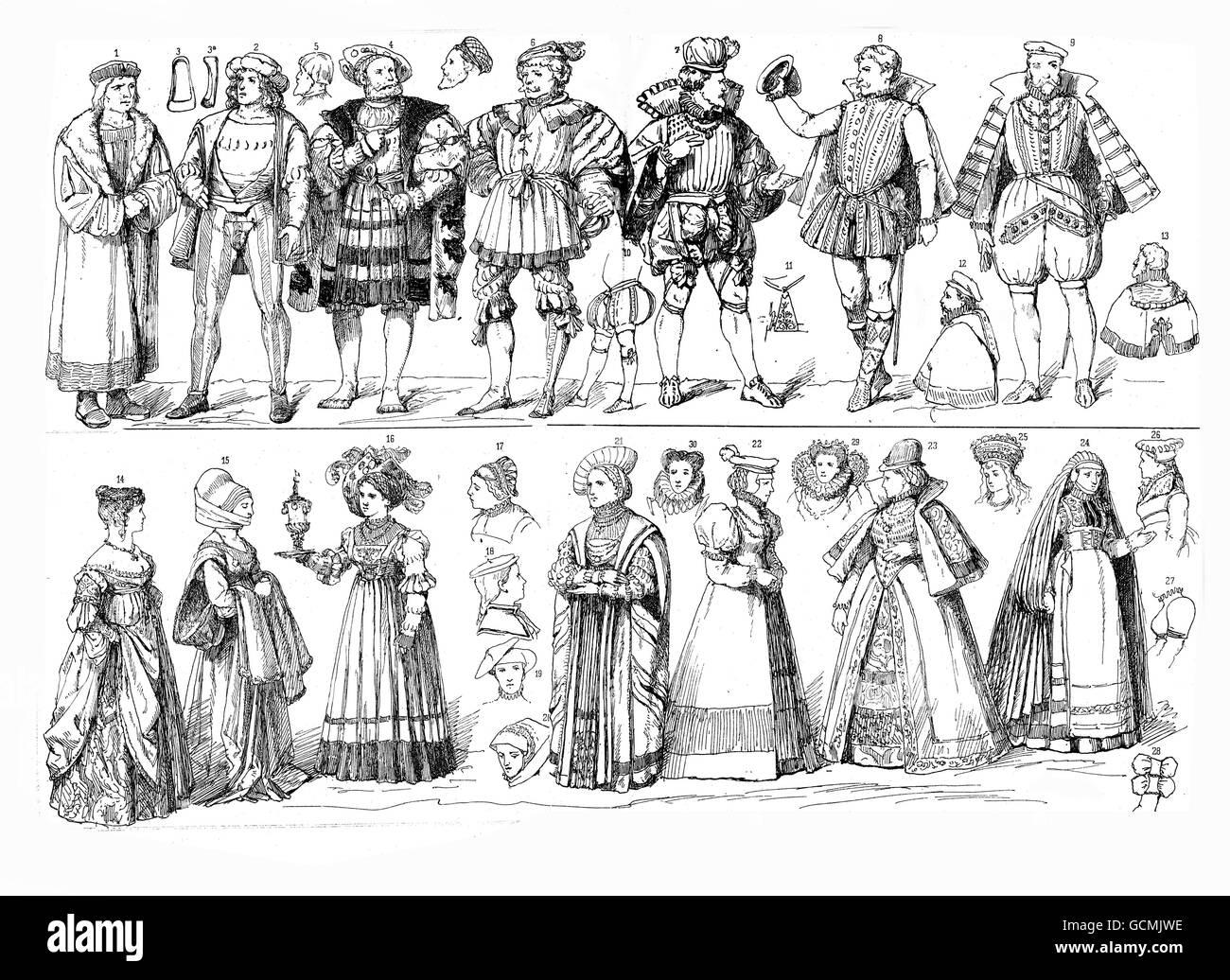 XVI century, German Renaissance upper class clothing - Stock Image