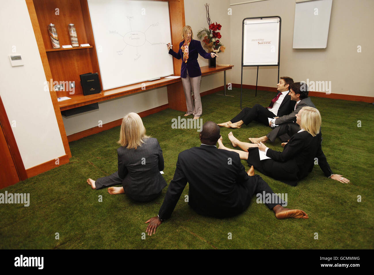 Grass meeting room Stock Photo