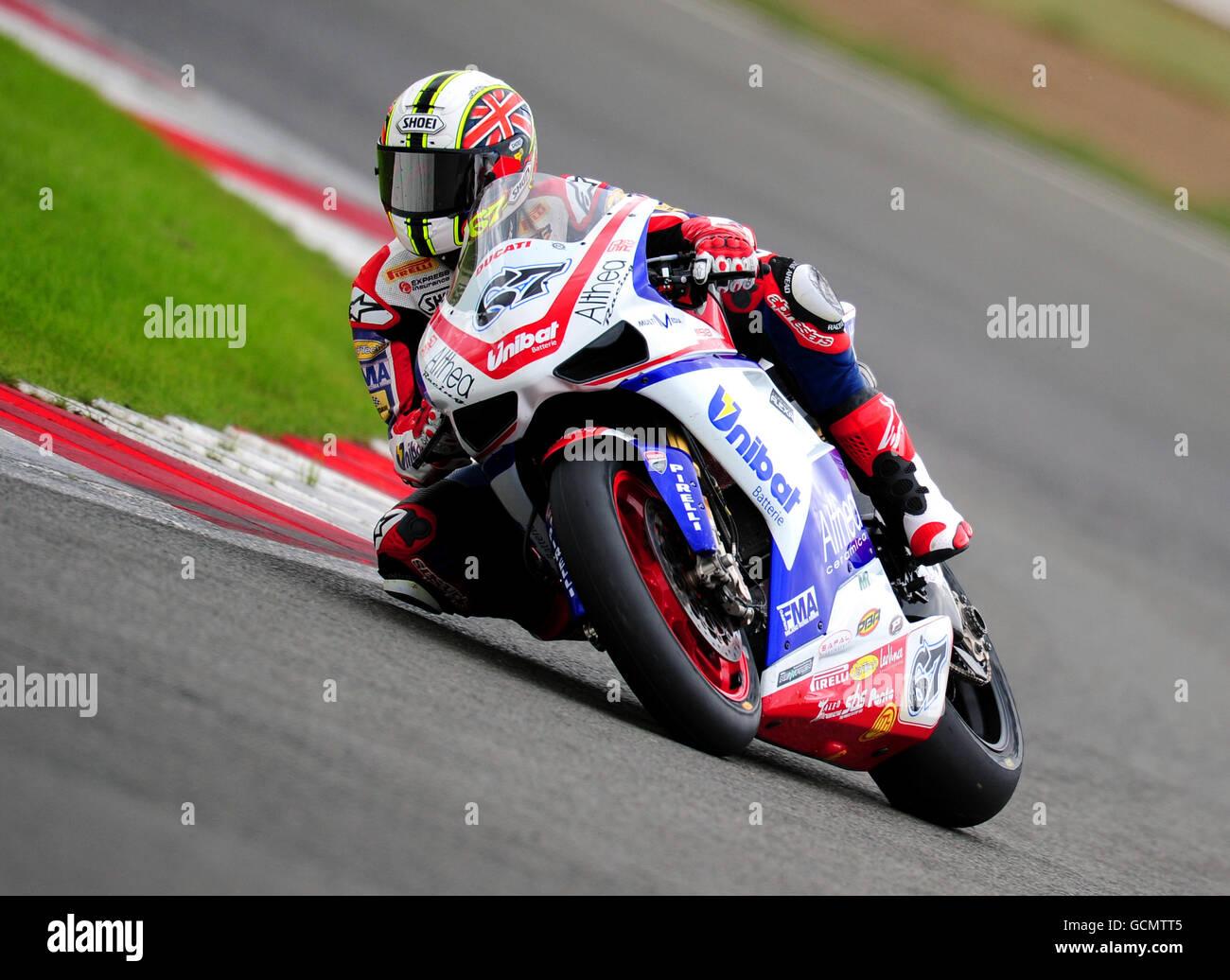 Moto Racing - World Super Bikes - British Grand Prix - Qualifying - Silverstone Stock Photo