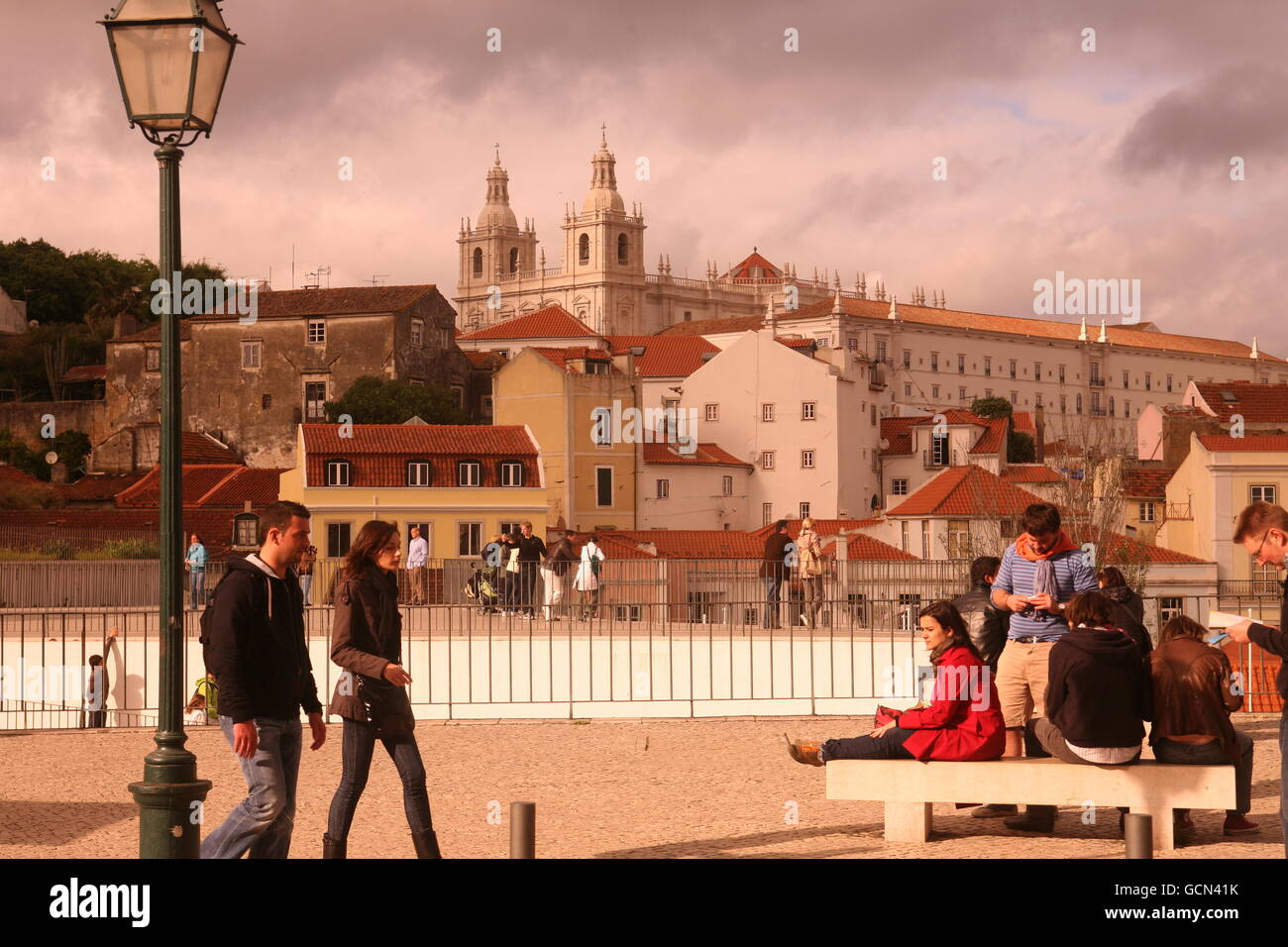the old town of Alfama in the city centre of Lisbon in Portugal in Europe. - Stock Image