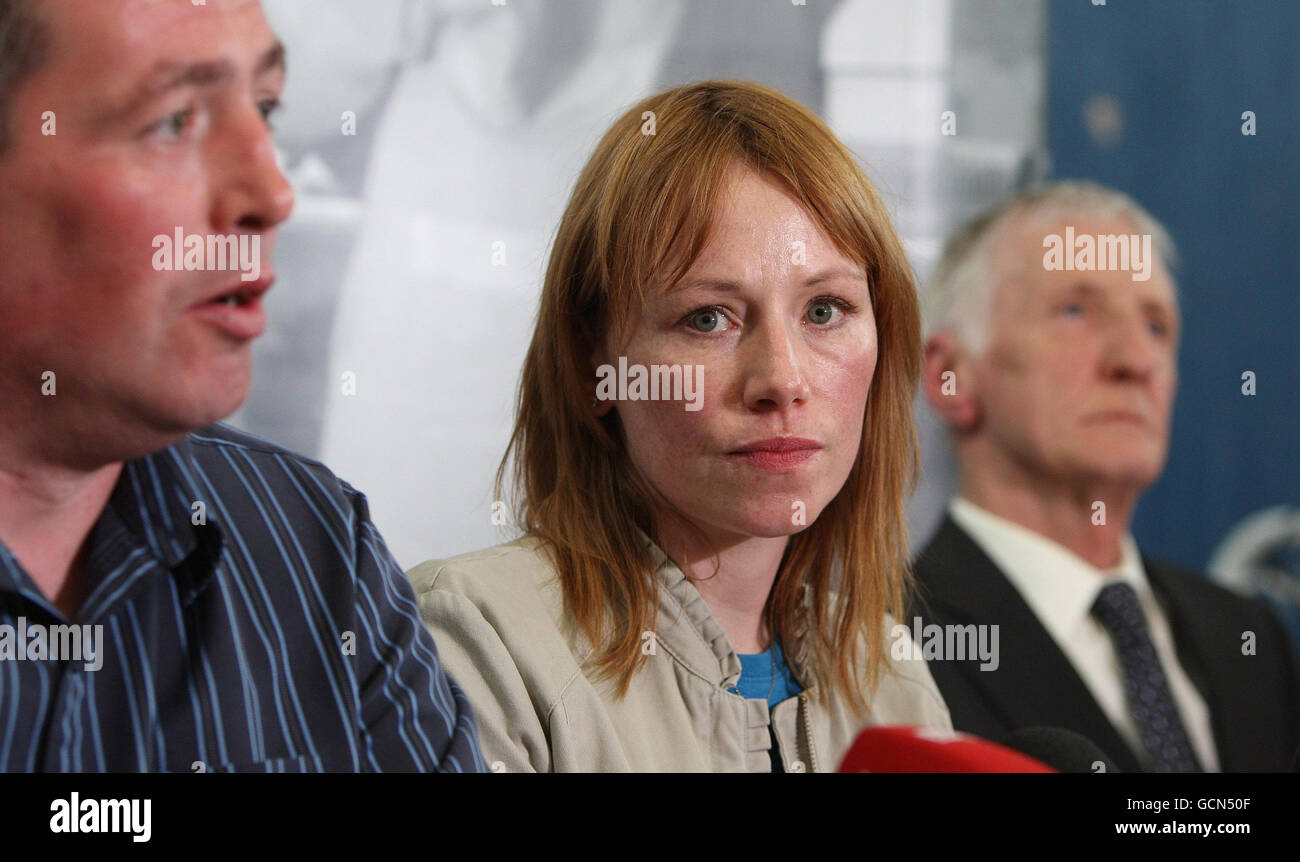 Family member Tracey Deanes (centre), who lost her uncle James McClelland , in the 1972 Claudy bombing during a Stock Photo