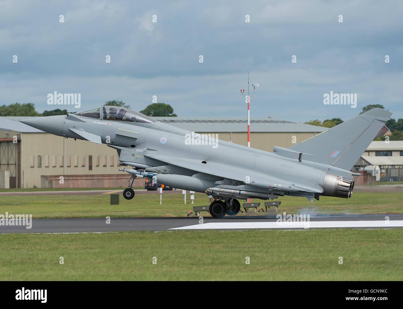RAF Eurofighter Typhoon landing at The 2016 Royal International Air Tattoo, RAF Fairford, Gloucestershire. - Stock Image