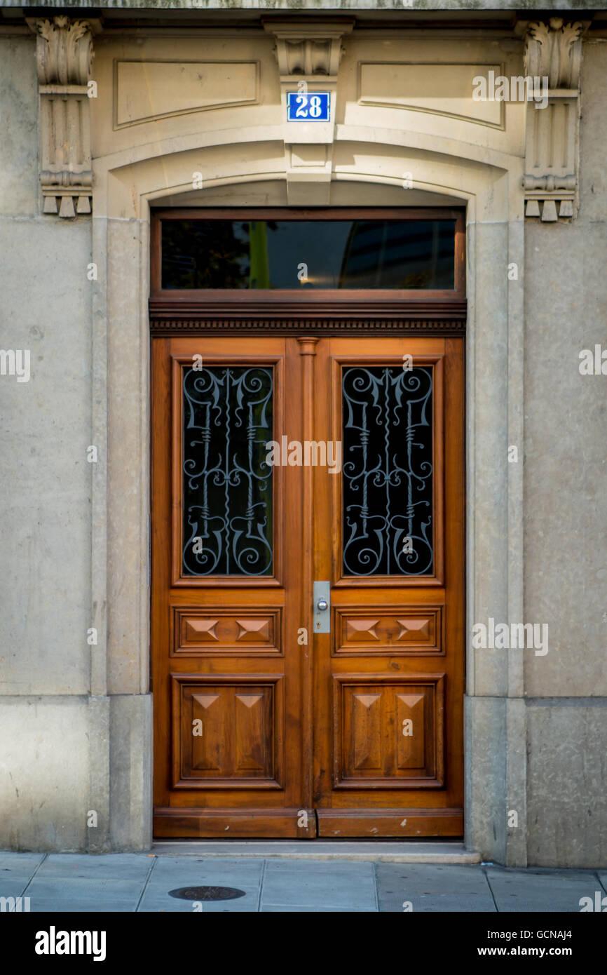 Old wooden door in Geneva Switzerland. & Old wooden door in Geneva Switzerland Stock Photo: 111107420 - Alamy