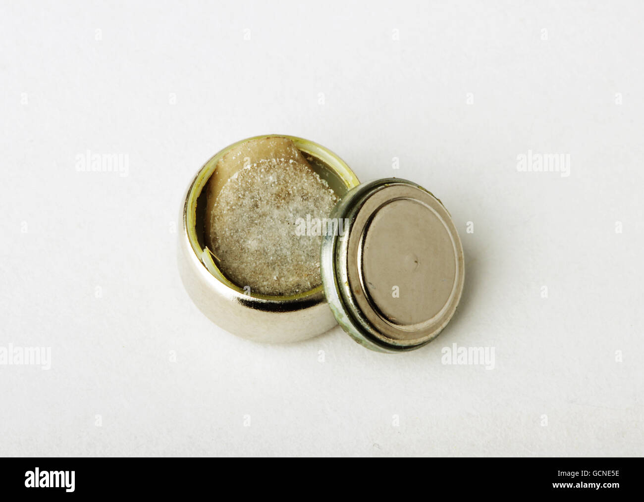 exploded manganese battery alkaline metal the inner contents of the  components - Stock Image