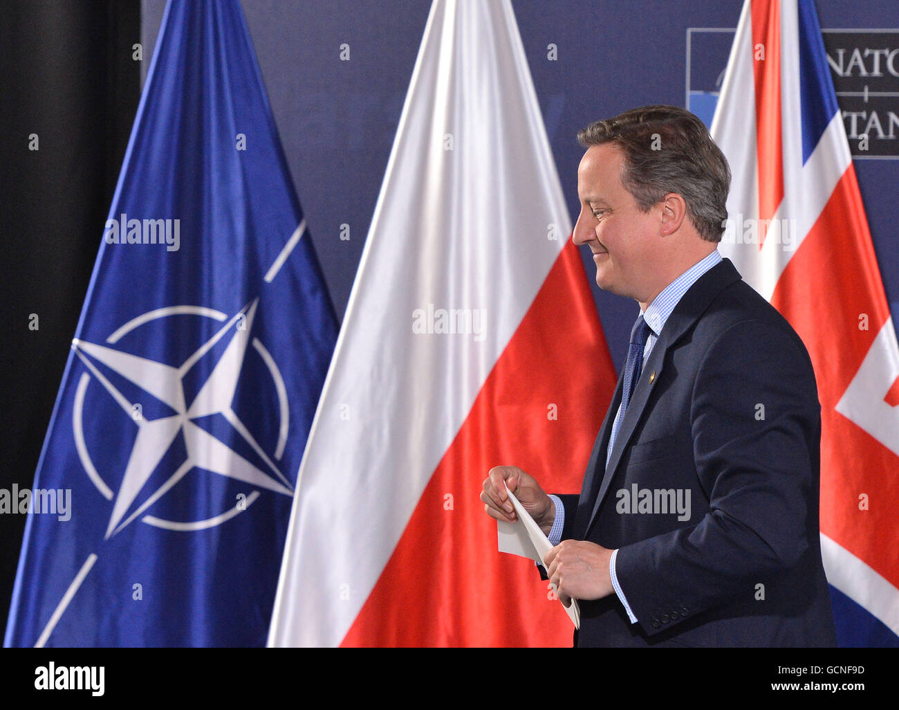 Prime Minister David Cameron following a press conference on day two of the Nato summit at the National Stadium, - Stock Image