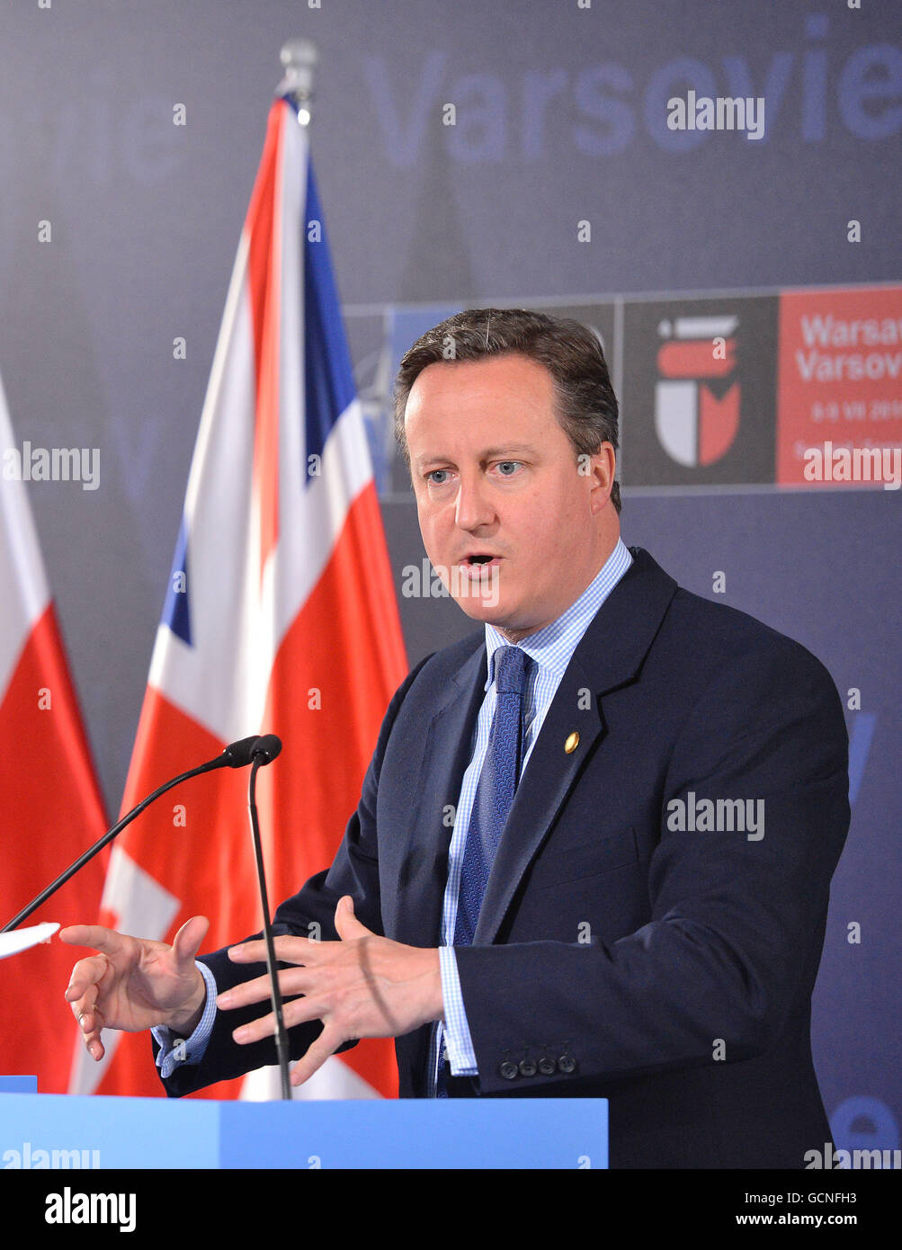 Prime Minister David Cameron holds a press conference on day two of the Nato summit at the National Stadium, in - Stock Image
