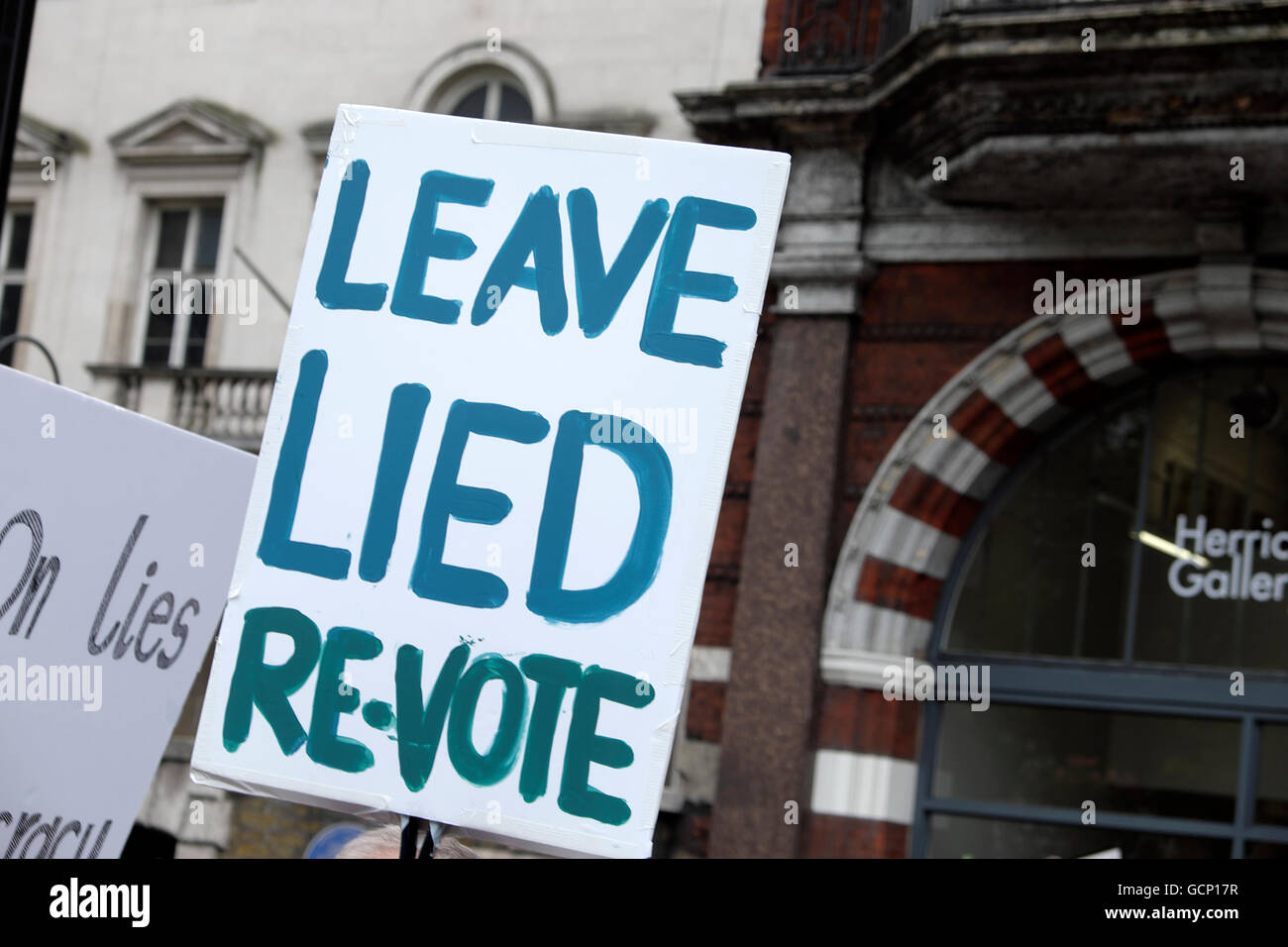 'Leave Lied Re-Vote' poster  demanding another vote  at the Anti Brexit March in London England UK 23 June - Stock Image