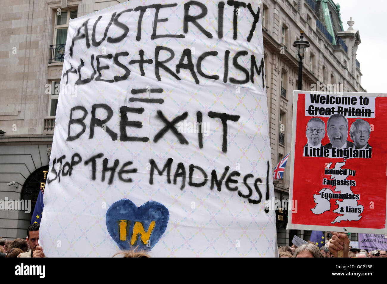Austerity Lies Racism poster at Anti Brexit demo 'March for Europe' on 2nd July 2016  in London England - Stock Image