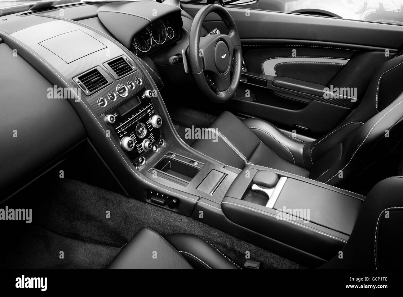 Bentley Interior In Black White Stock Photo Alamy