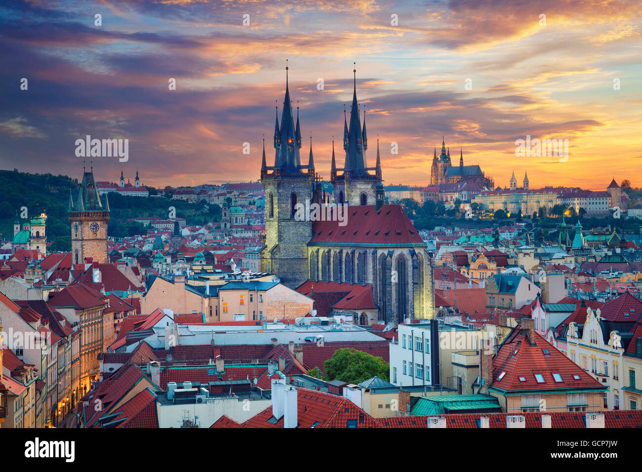 Prague. Image of Prague, capital city of Czech Republic, during dramatic sunset. - Stock Image