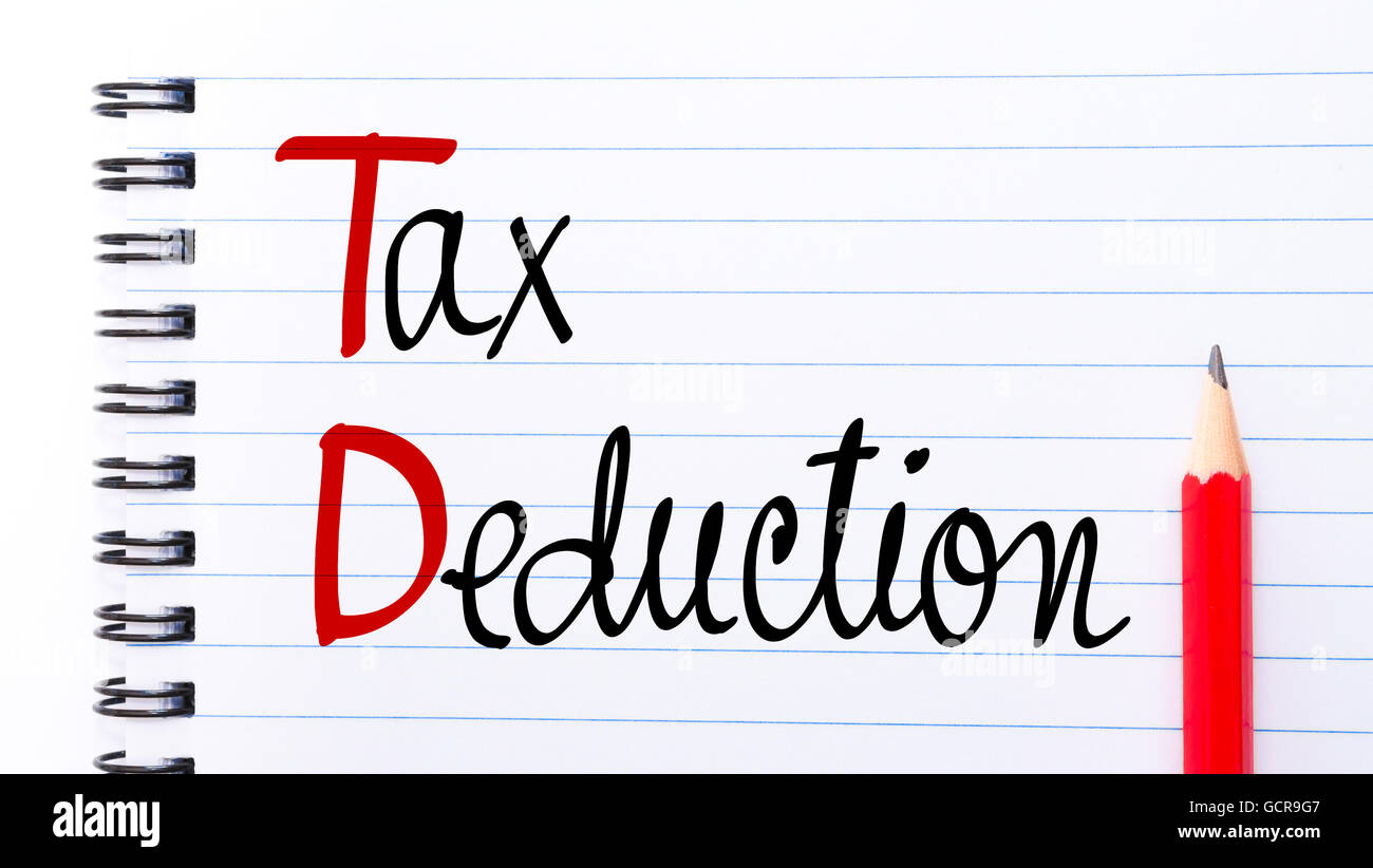 TD Tax Deduction written on notebook page with red pencil on the right - Stock Image