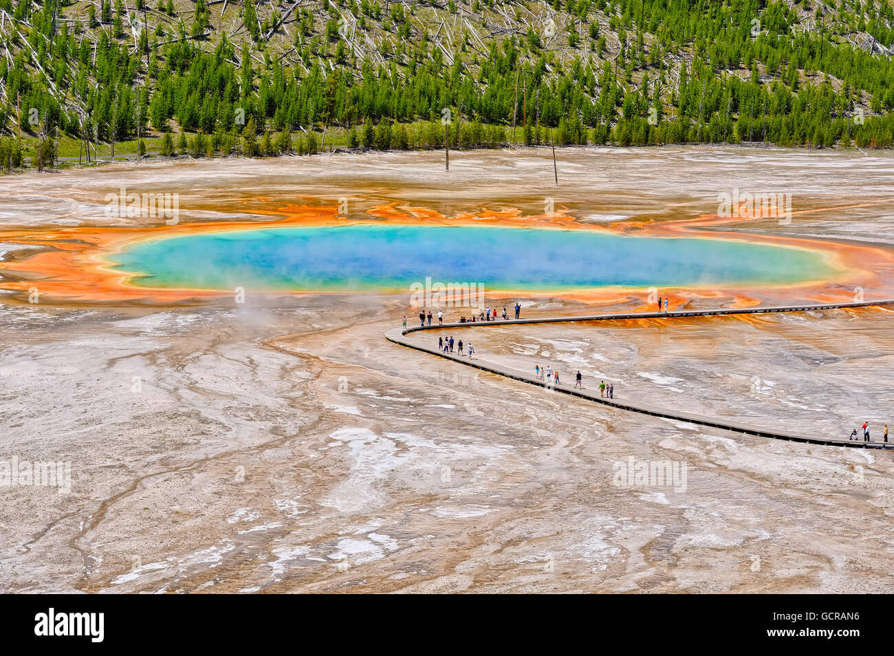 Visitors exploring the extraordinary colors and patterns for the Grand Prismatic Spring, Yellowstone National Park - Stock Image