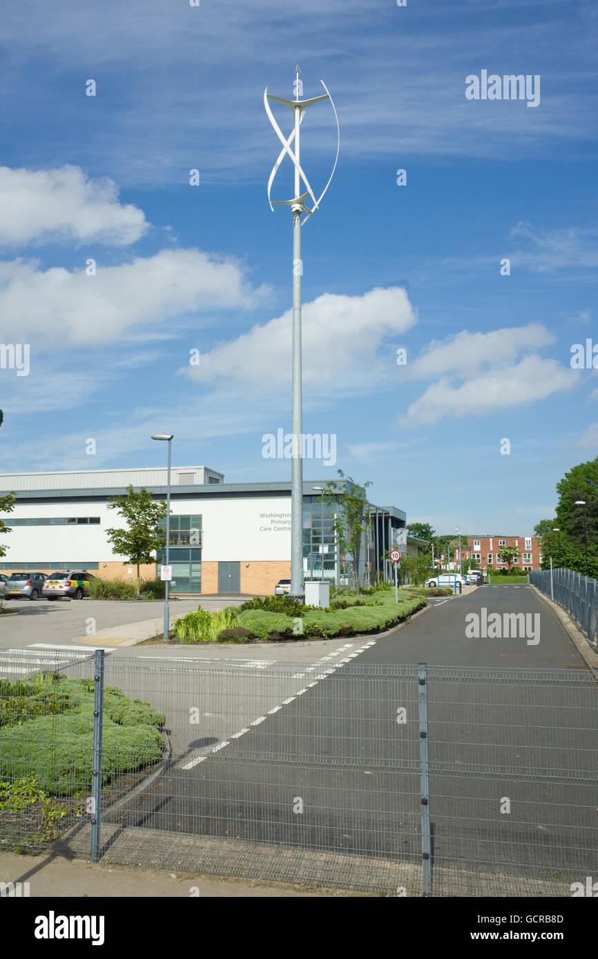 Vertical wind turbine, Washington Primary Care Centre - Stock Image