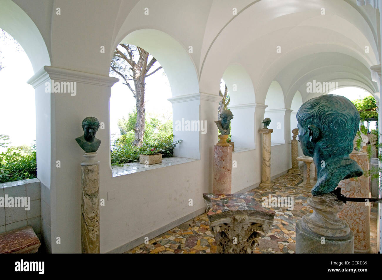 Sculpture gallery at the Villa San Michele, former home of author/physician Axel Munthe on the Isle of Capri in - Stock Image