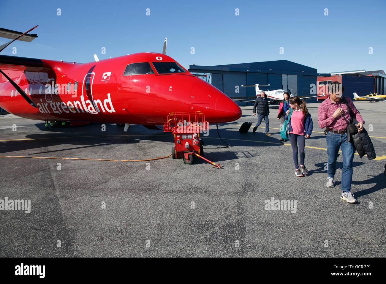 Dash-8 on the tarmac at the airport,  Ilulissat, Greenland - Stock Image