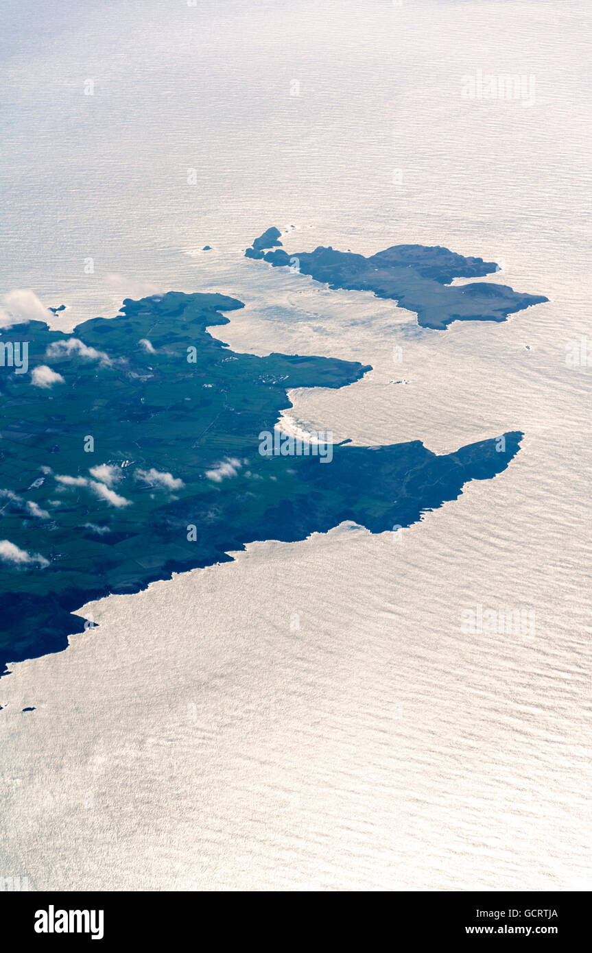 Aerial view of Ramsey Island, in Welsh Ynys Dewi, in Pembrokeshire, St Brides Bay, Wales, UK - Stock Image