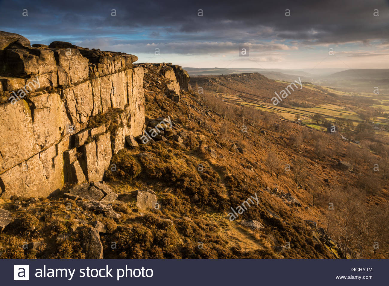 Curbar Edge Sunset - Stock Image