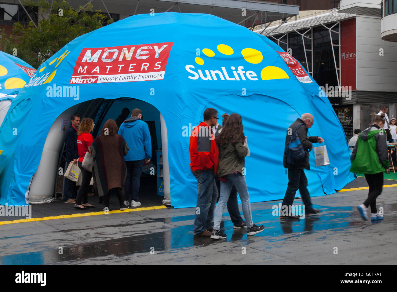 Blue Money Matters domed tent, a SunLife promotion and advice centre in Williamson Square, Liverpool, Merseyside, - Stock Image