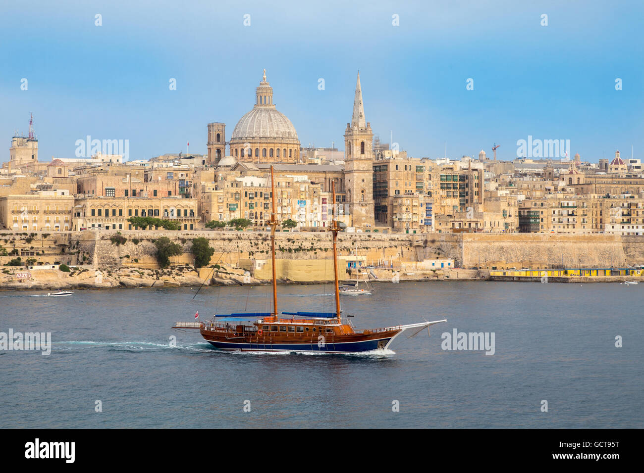 Valletta the capital city seen from Tigne seafront, Malta - Stock Image
