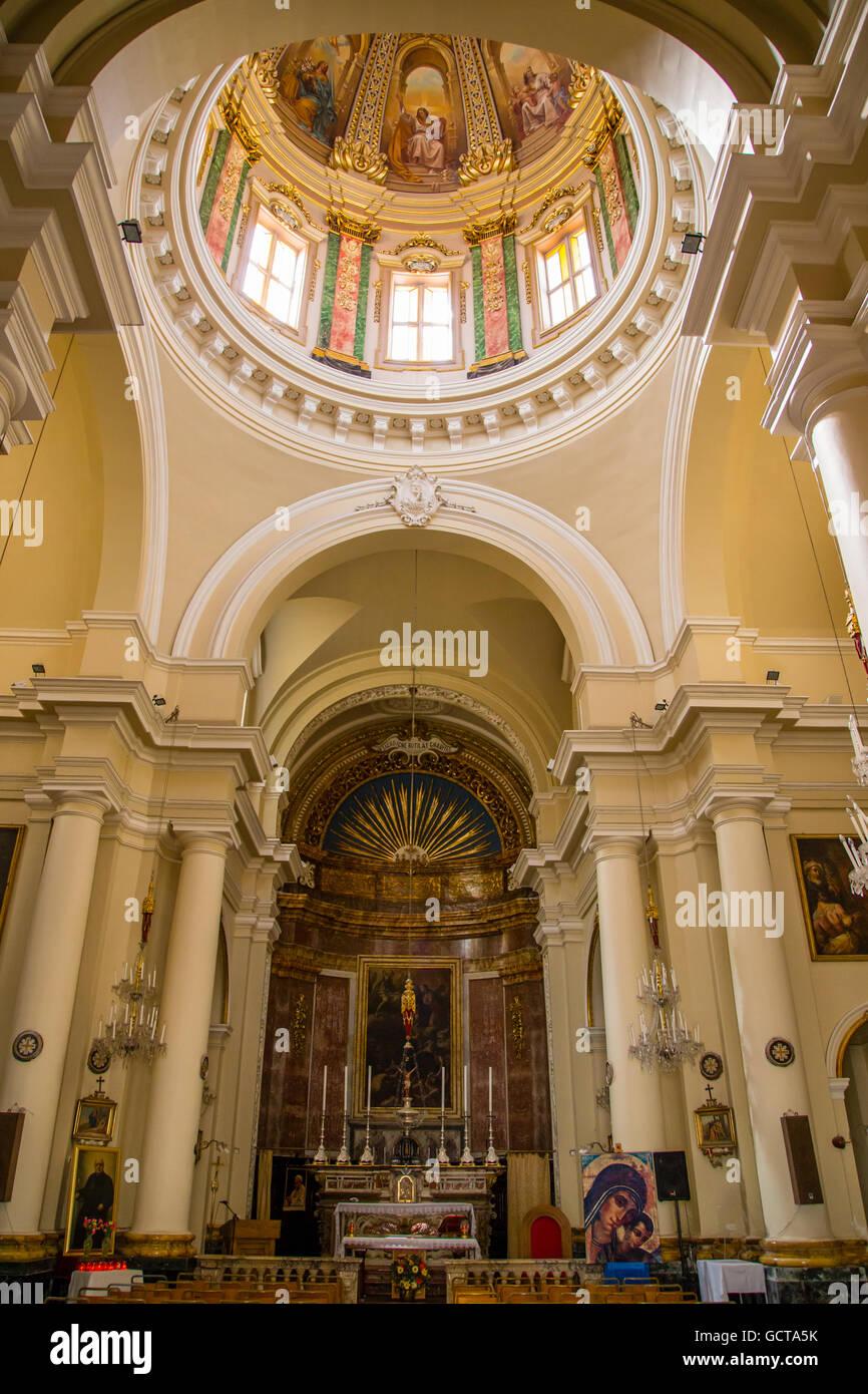 St. Nicholas' Church dome, Valletta, Malta - Stock Image