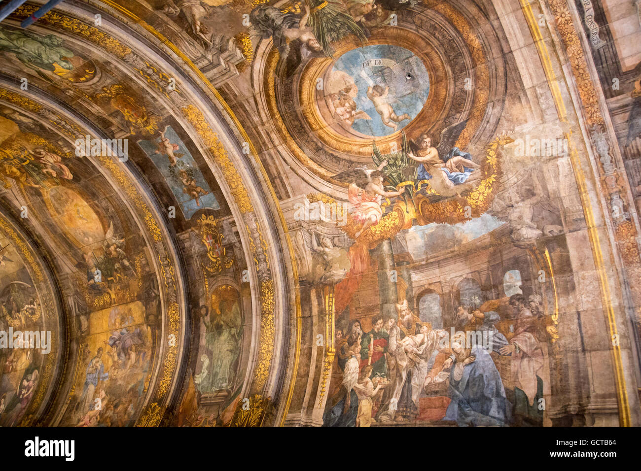 Ornate painted ceiling of the Our Lady Of Victories Chapel, Valletta, Malta - Stock Image