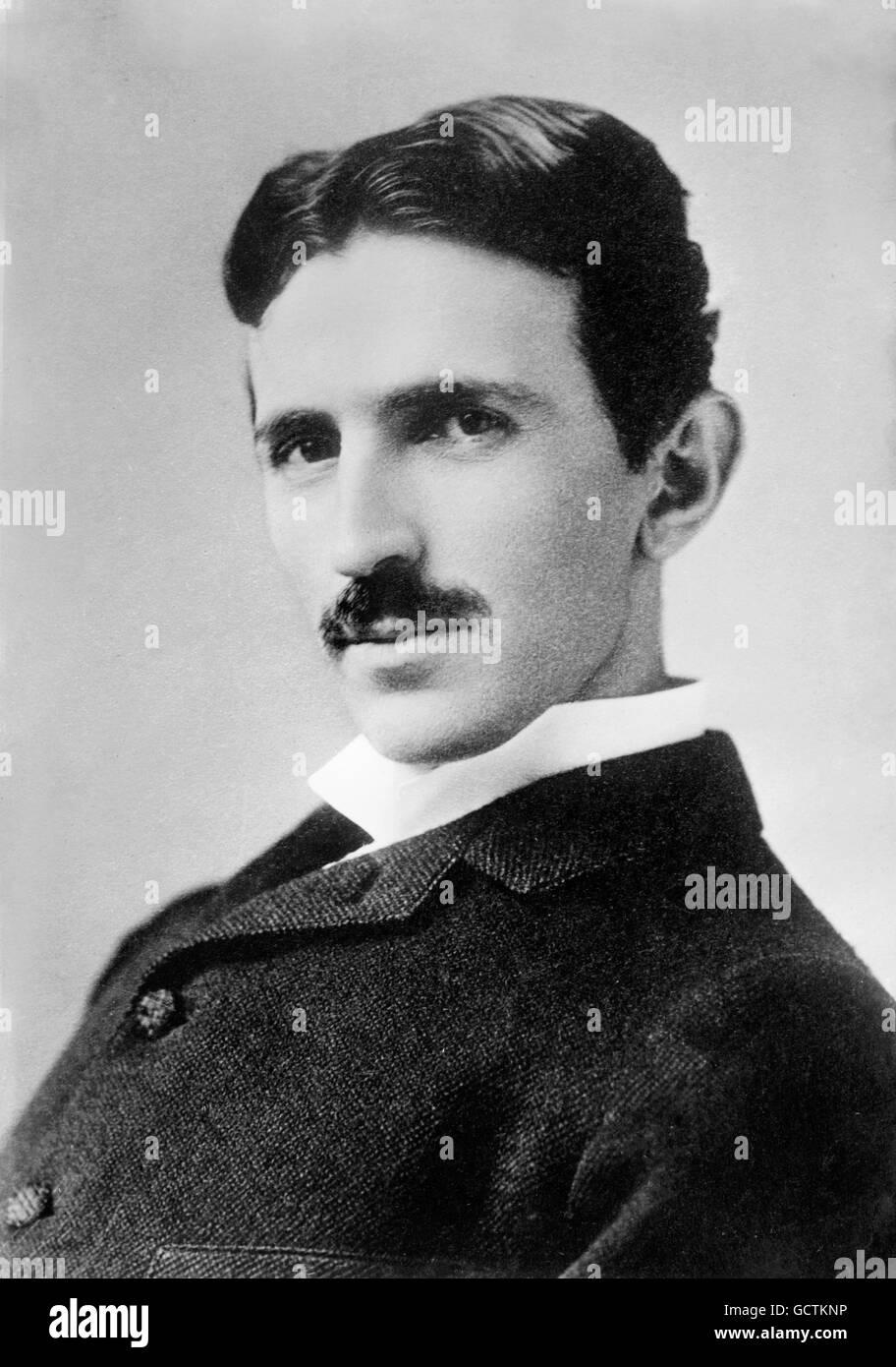 Nikola Tesla. Portrait of the inventor and engineer by Napoleon Sarony, c.1890. - Stock Image
