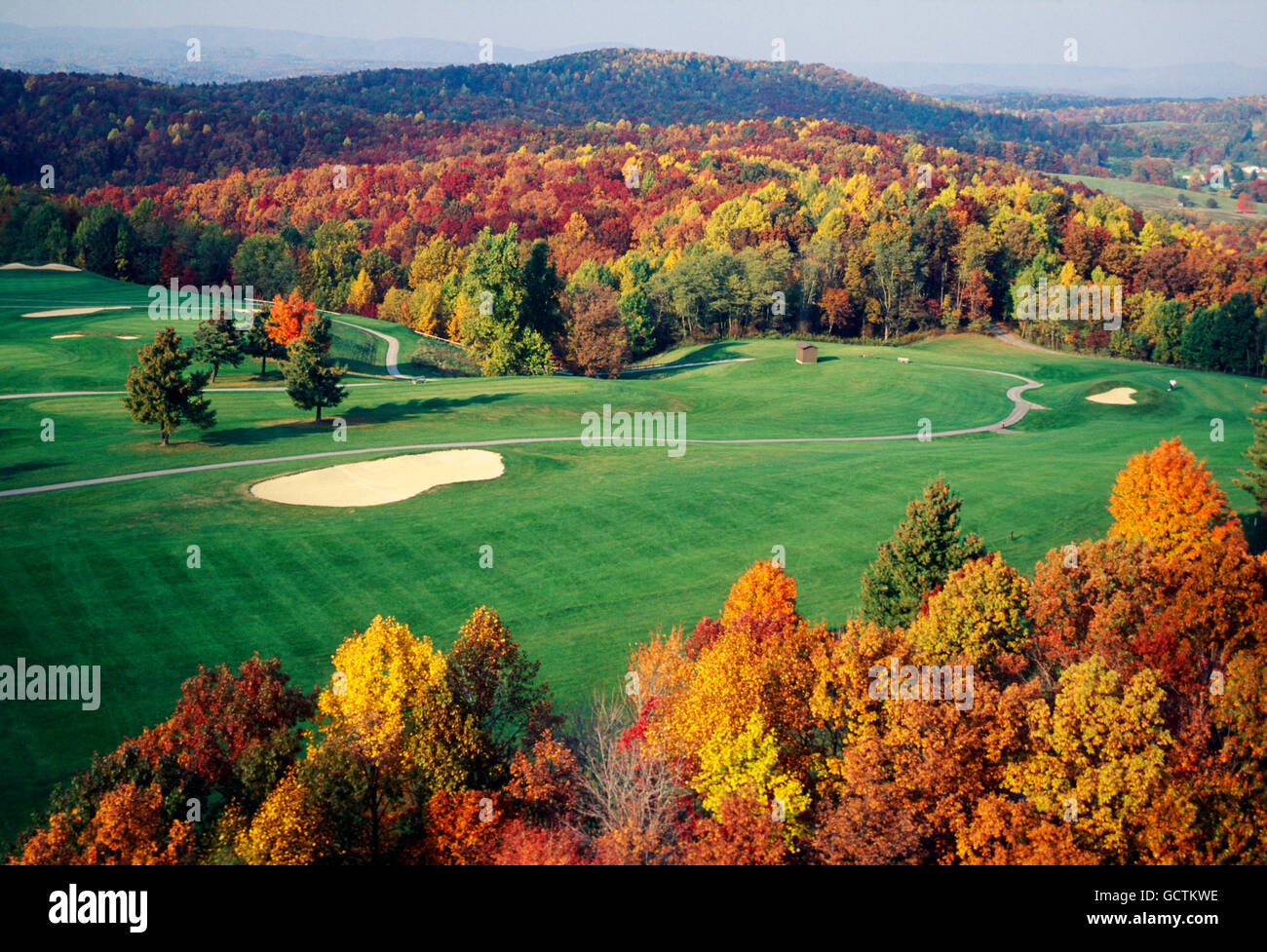 Aerial view of golf course & fall foliage; Pipestem Resort State Park; West Virginia; USA - Stock Image