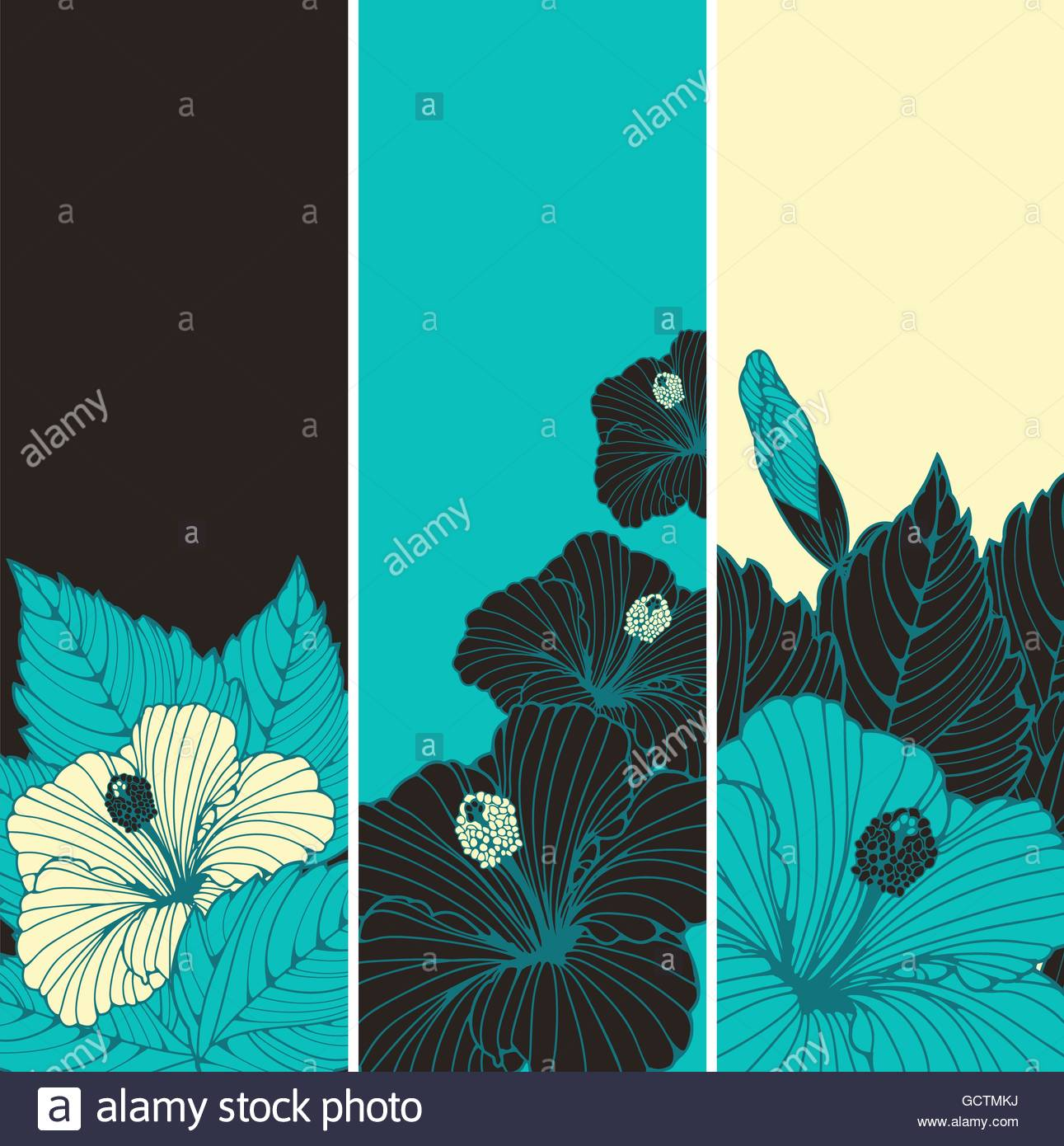 a set of three bookmark backgrounds with hibiscus flowers patterns
