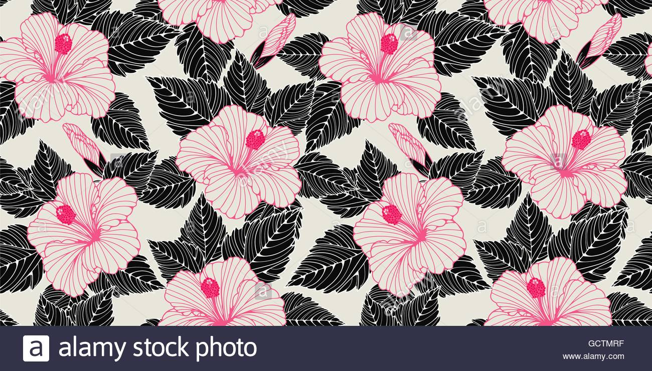 a wallpaper seamless background with hibiscus flowers patterns in